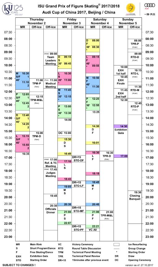 フィギュアスケート中国杯の大会スケジュール