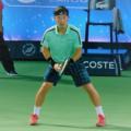 ドバイテニス選手権2018の準々決勝でプレーする杉田祐一